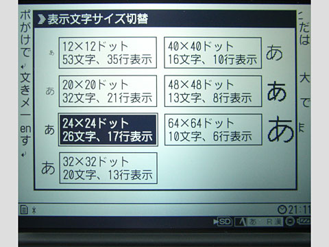 DM-20 文字サイズの設定